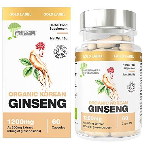 Neu: Koreanischer Bio-Ginseng (Panax) 300mg Wurzelextrakt | Entspricht 1200mg der Gesamtpflanze (4:1 Extrakt) | Mindestens 10{da5ddf6a33c58eacebd99330fd3e18c08110ae79b3be6a7193233737f559ad2d} Ginsenoside | Weltbekanntes Adaptogen| 60 Kapseln | Glutenfrei + vegan