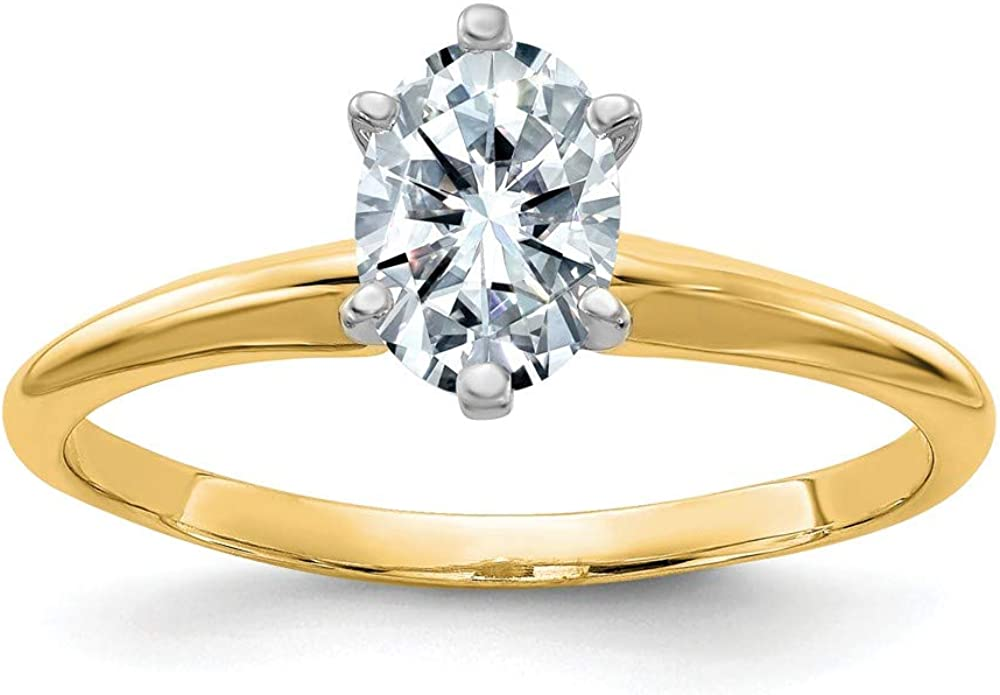 14k Yellow Gold 7/8ct. D E F Pure Oval Moissanite Solitaire Band Ring Size 6.00 Engagement Gsh Gshx Fine Jewelry For Women Gifts For Her