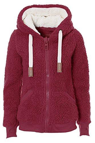Damen New Hooded Sherpa Jacket Women Casual Winter Warm Soft Teddy Coat Zip Up Hooded Sweatshirt Jacke Mantel - Violett - Groß