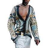 Camisas Tropicales Hawaianas de Estilo Europeo y Americano de Verano para Hombres, Camisa Informal de Manga Larga con Botones M