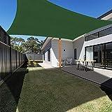 Ankuka 3 x 4 Metri Tenda a Vela, Rettangolo Tendalino Parasole da Giardino e Patio, Protettiva Sole Raggi 98% UV, Completa di Corda, Verde Scuro