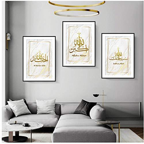 zzxywh Moderne Islamische Gold Leinwand Wandkunst Malerei Poster Drucken Bild Bild für Wohnzimmer Wohnkultur 40 × 60 cm × 3 Kein Rahmen