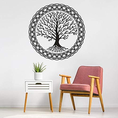 Patrón de árbol de yoga etiqueta de la pared patrón de árbol de la vida etiqueta de la pared árbol de la vida con mural de vinilo redondo decoración del hogar etiqueta de la pared A7 42x42cm