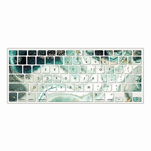 AQYLQ Keyboard Cover Silicone Skin Compatible MacBook Pro 13 Inch, 15 Inch (with/Without Retina Display, 2015 or Older Version), MacBook Air 13 Inch(only fit for A1369/A1466), DL71 Green Marble