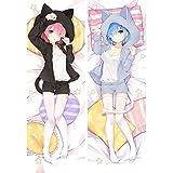 Hot Japan Anime Re: Zero REM & RAM Sexy Dakimakura Manga Anime Girl Cuerpo Pomo de Almohada Otaku Waifu Cat Cosplay Huggable Funda de Almohada Otaku Anime Fans 'Cubiertas favoritas de Cojines