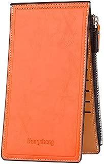Women's Wallets and Billfolds Thin Multi Card Organizer Wallet Ladies Purse with Zipper Pocket (Orange)