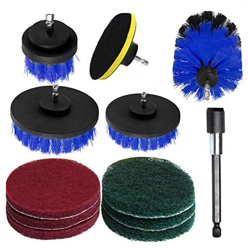 Escova de limpeza de nylon para pincel de perfuração Cabilock Power Scrubber para azulejo de carro 12 peças, Azul, 9.9 x 8.3 x 3.2 cm