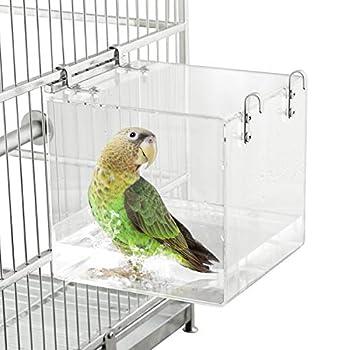 HOSUKKO Bird Bath for Cage Clear Bird Bathtub Parrot Parakeets Shower Bathtub Birdbath Box for Small Bird Parrot with 4 Hooks 5.1inch x 5.1inch