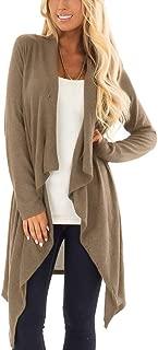 For G and PL Women's Button Wrap Irregular Hem Long Sleeve Cardigan