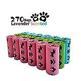 PET N PET OXO-Biodegradable Pet Waste Bags Dog Poop Bags Earth-Friendly Leak-Proof Rainbow Color 270 Counts Lavender Scented