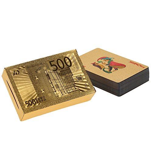 Anself Mazzo di Carte da Gioco Impermeabile Durevole, Colore Oro