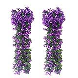 FUJIE 2 Pezzi Artificiale Seta Glicine Fiori, Fiori Artificiali Pendenti Pianta Glicine Finta Glicine Artificiale Violetta Artificiale Wedding Giardino Décor - Porpora
