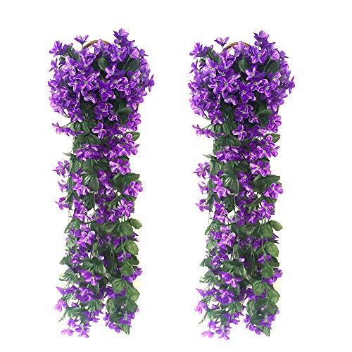 FU JIE 2 Stück Hängenden Künstlich Veilchen,Künstliche Blumen Veilchen Girlande Kranz Simulation Silk Blume Rattan für Ihr Zuhause, Hochzeiten, Garten, zur Dekoration - violett