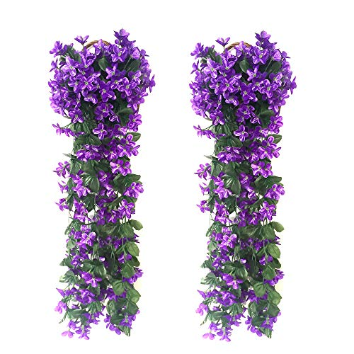2 Pack 2.3 Foot Simulation Violet Flower Wisteria silk flower Fake Wisteria Vine Silk Flower Hanging Garland for valentines Home Wedding Garden Decoration - Purple