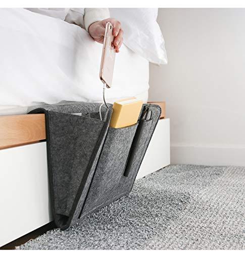 GOODTY - Organizador de mesita de noche, organizador de almacenamiento para cama, sofá o escritorio, organizador para tableta, revistas, libros, cargadores de teléfono