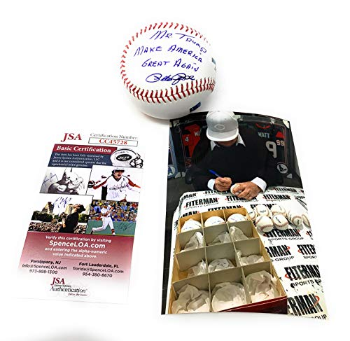 Pete Rose Cincinnati Reds Signed Autograph Official MLB Baseball MR TRUMP MAKE AMERICA GREAT AGAIN Inscribed (RARE) W/Photo JSA Witnessed Certified