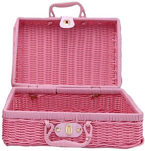 XINGDONG Minsa - 1 cesta de almacenamiento de mimbre para pícnic, senderismo, camping, reunión familiar, duradera (color rosa, tamaño: 26 x 18 x 12 cm)