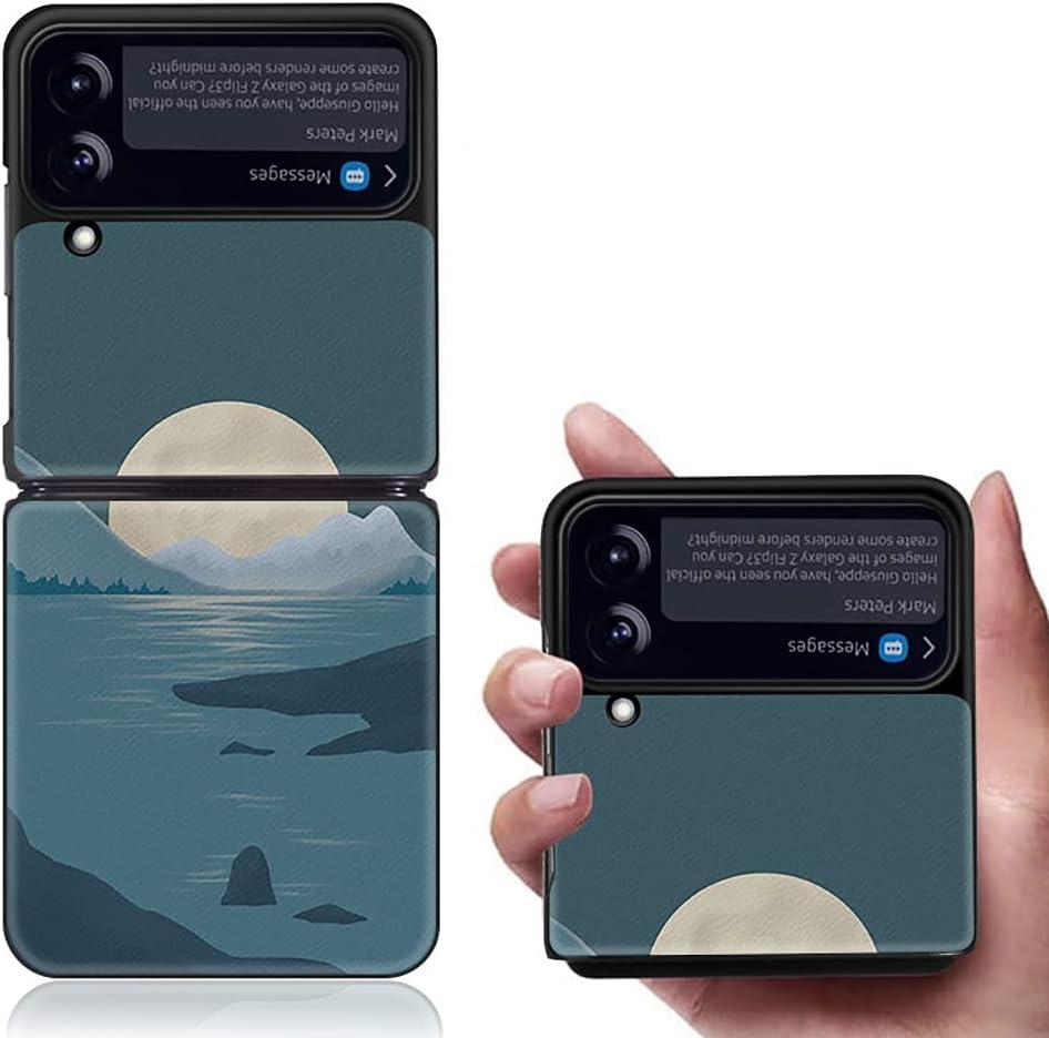 Yatchen Luxury Leather Case Apply to Samsung Galaxy Z Flip 3,Cute Pretty Landscape Painting for Women Dermatoglyph +Hard PC Bumper Flip Protector for Galaxy Z Flip 3 5G 2021 (Moon)