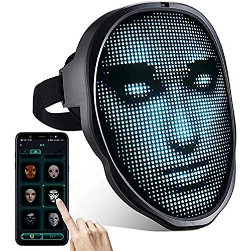 Savlot Máscara LED Máscara de Halloween Adultos con Bluetooth Cara Variable programable Máscara Facial LED Máscara de Halloween Máscara LED de Navidad Máscara Facial Completa con luz