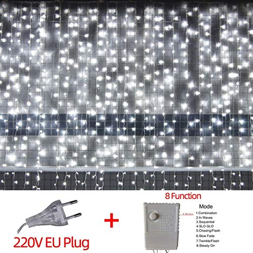 220V   LED Christmas Light Icicle Impermeable Fairy String Cortina Luces Garland Outdoor para Wedding Party Bar Decoración de Año Nuevo - Enchufe Europeo Blanco frío, Cable de Enchufe Europeo a1,3M
