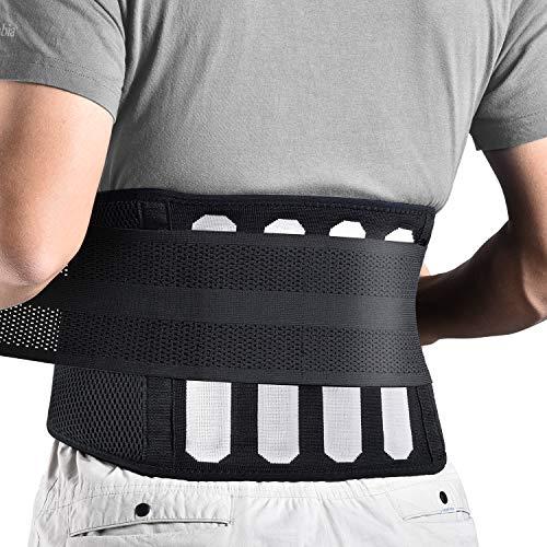 FREETOO Rückenbandage mit Stützstreben Verstellbare Zuggurte und atmungsaktiver Nylonstoff ideal für Arbeitsschutz entlastet die Rückenmuskulatur zur Haltungskorrektur