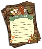 50 Cute Rustic Woodland Forest Animals Baby Shower Invitations and Envelopes (Large Size 5x7) - Baby Shower - Birthday Party - Any Occasion - Fox, Hedge Hog, Deer, Squirrel, Raccoon, Bear