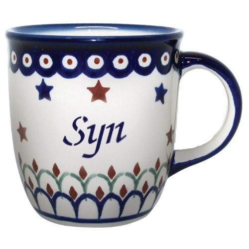 Polish Boleslawiec Pottery 12oz Mug - Word SYN on one Side, Word Son on The Other, Gift from Poland