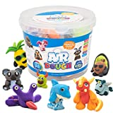 Air Dough - 60 Bags of Colored, Air Dry, Ultra Light, Non-Toxic Modeling Clay in a Bucket Including Accessories, Tools, Tutorial Videos (Educational, DIY, Kids Gifts, Art Craft Set for Boys & Girls)