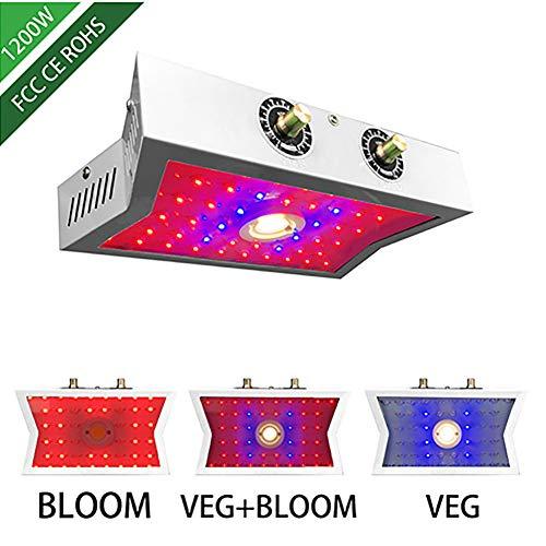 YLME 1200W LED Grow Light, Lampe De Croissance des Plantes, Lampe Usine, Full Spectrum Bouton De Réglage Lumière Usine pour Plantes D'intérieur Et Veg Flower (Puissance Réelle 110 Watt),UK Plug