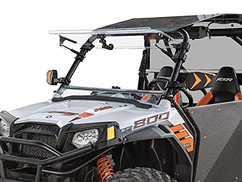SuperATV Scratch Resistant 3-1 Flip Windshield for Polaris RZR 800/800 S / 800 4 / XP 900/570 / 900 4 | Made in USA | 250X Stronger than Glass | Can be set to Open, Vented, or Fully Closed!