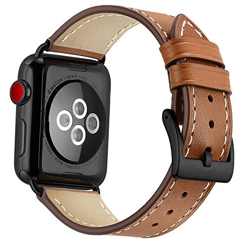 OXWALLEN Compatible with Apple Watch Band 42mm 44mm, Full-Grain Leather Band Compatible with iWatch Series 4/5 (44mm) Series 3/2/1 (42mm) Sport and Edition, Black Buckle