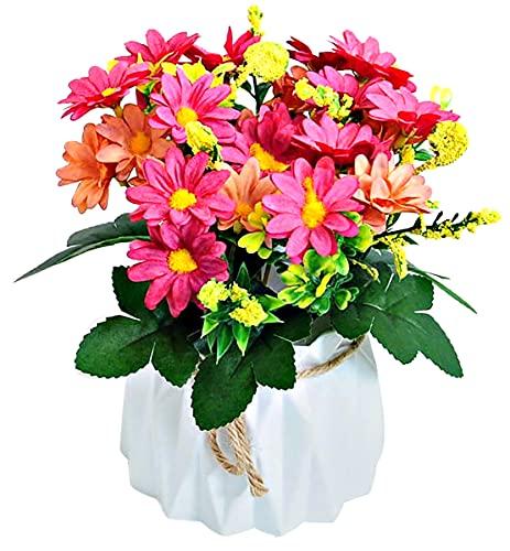 Hrbtag Crisantemo Artificial, Flor Artificial para Decoracion Flores Artificiales de Seda para Boda, Oficina en Casa, Fiesta, Hotel, Ventana, Alféizar, Mesa, Centros de Mesa, Arreglos Florales (Rosa)