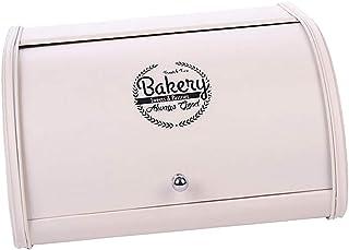 Prettyia Iron Bread Box Retro Bin Cake Pastry Basket Roll Lid Storage Organizer, Black Pink & White, for Pastries, Toast a...