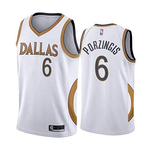 Jersey De Baloncesto para Hombre - NBA Dallas Mavericks # 6 Kristaps Porzingis Jersey, Baloncesto Transpirable Ronda/Cuello En V Jersey Fans T-Shirt,Blanco,XXL(185~190cm)