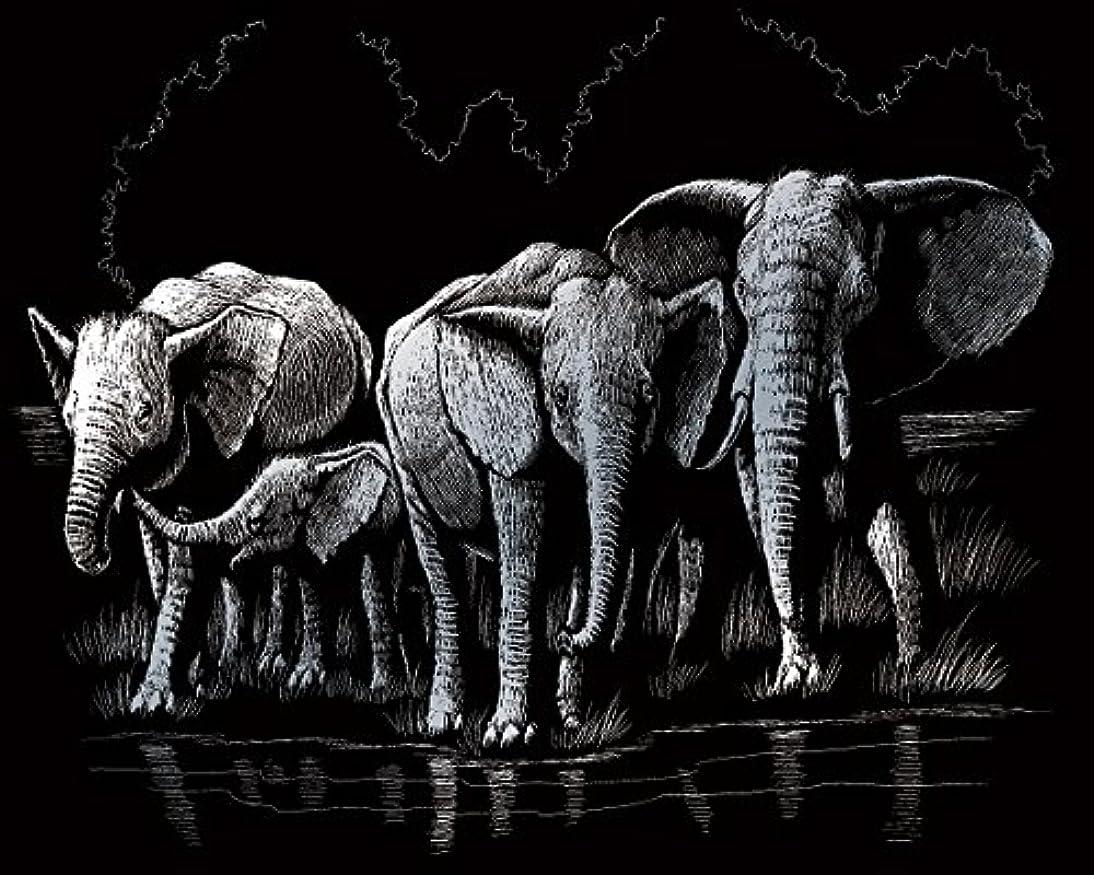 Royal Brush Silver Foil Engraving Art Kit, 8-Inch by 10-Inch, Elephant Herd