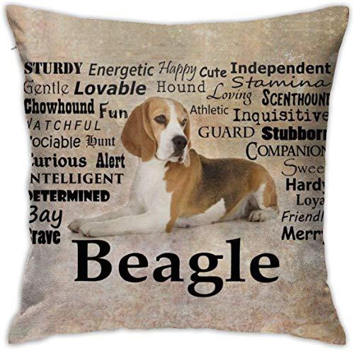 MODORSAN Beagle Dog Throw Pillow Fundas Decorativas para el hogar Sofá Decorativo de 18'x18' Funda de Almohada Funda de Almohada Fundas de cojín cuadradas para el hogar Sofá Dormitorio Sala de Estar