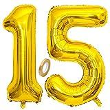 Jxuzh Globo de 15 cumpleaños dorado con número 15, globo gigante dorado, globos de helio con números grandes, 15 años y XXL Happy Birthday de 32 pulgadas, para niñas y niños
