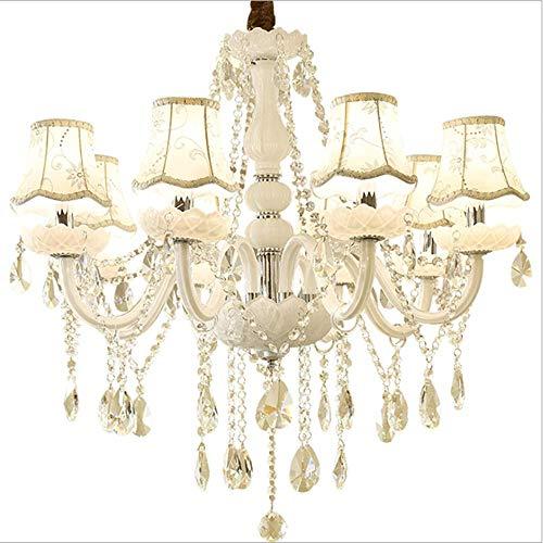 6 armen kristallen spin, 6-8 lampen, kristal, 6-8 armen hanglamp met lampenkap van stof voor de slaapkamer, hotel, studio, 6 armen