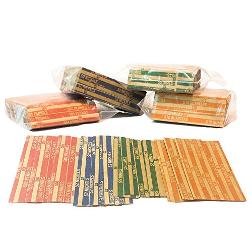 J Mark 1000 Neatly-Packed Flat Coin Roll Wrappers, Made in USA, Extra Pennies (Quarters, Dimes, Nickels, Pennies), ABA…