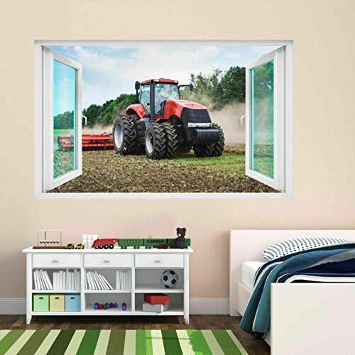 Pegatinas de pared - 3D- Tractor maquinaria agrícola agricultura granja etiqueta de la pared mural calcomanía