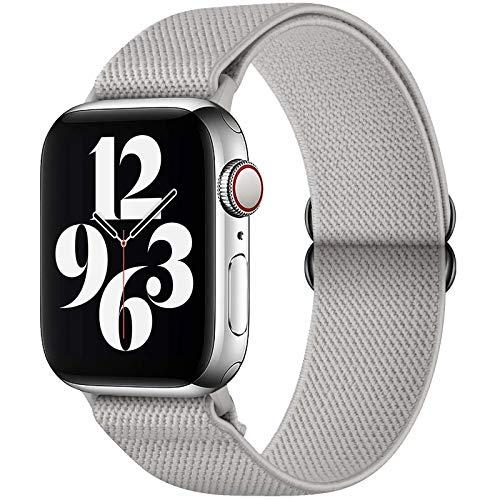 GBPOOT Compatibile con Cinturino Nylon solo loop per Apple Watch 38mm 40mm 42mm 44mm, Cinturino di Ricambio Lo Sport in Elastico in Nylon per Iwatch 6/SE/5/4/3/2/1,Pure Grey,42/44mm