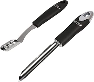 Jalapeno Pepper Corer & Zucchini/Cucumber Corer, Set of 2, Newness Stainless Steel Core Deseeder Kitchen Tool with Serrated Slice and Rubber Handle, Easy for Seed Remover or Slice off Vegetables tops