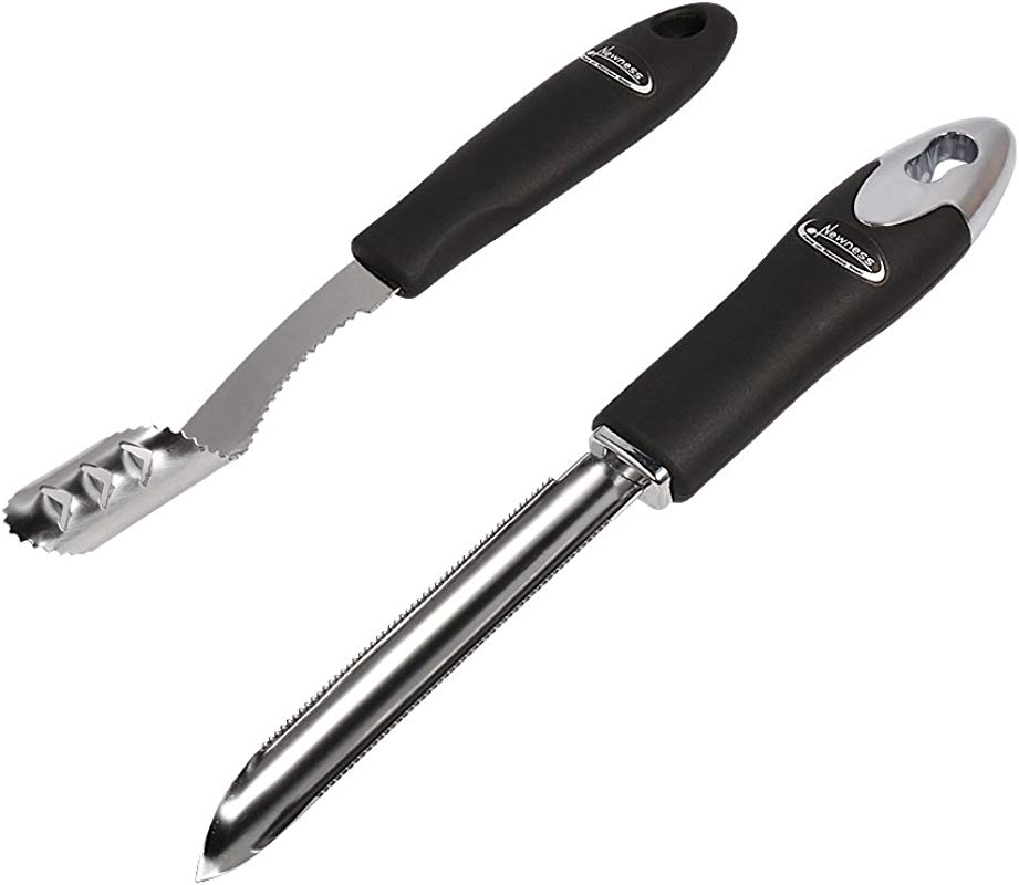 Jalapeno Pepper Corer Zucchini Cucumber Corer Set Of 2 Newness Stainless Steel Core Deseeder Kitchen Tool With Serrated Slice And Rubber Handle Easy For Seed Remover Or Slice Off Vegetables Tops