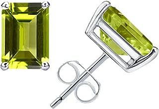 1.10 Ctw 6x4mm Natural Octagon Citrine, Garnet & Peridot 925 Sterling Silver November Birthstone Gemstone Stud Earrings : Nickel Free Beautiful and Stylish Birthday Gift For Her