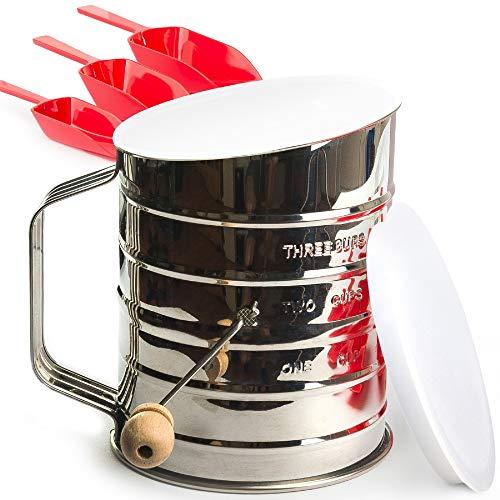 Mehlsieb für 3 Tassen Edelstahl – Perfektes Sieb zum Backen mit sehr feinem Mandelmehl – Puderzucker Staubsieb – Deckel und Boden – E-Book Bonus