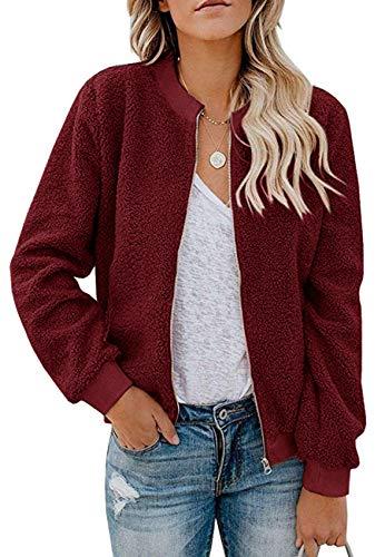 MIROL Women'S Sherpa Fleece Jacket Faux Fuzzy Long Sleeve Casual Zip Up Bomber Coat with Pockets (X-Large, Wine)