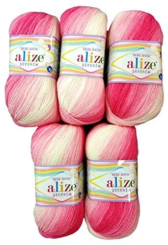 Alize 5 x 100g Babywolle Bebe Batik rosa weiß Nr. 2126, 500 Gramm Wolle zum Stricken und Häkeln
