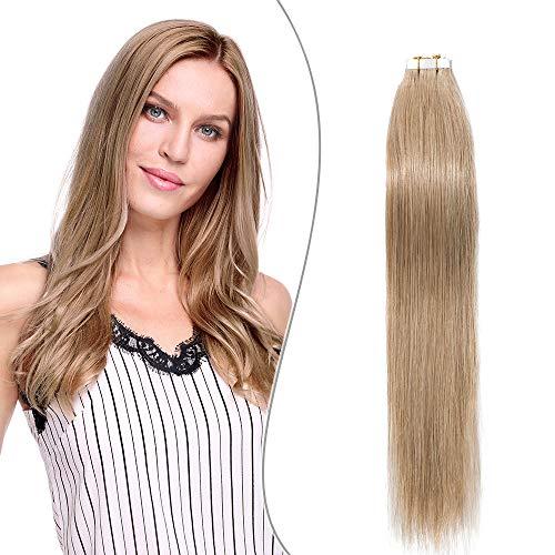 Elailite Extension Biadesivo Capelli Veri Adesive 10 Fasce Biadesive Tape in Human Hair 100% Remy Super Invisibile 20g/Set, 30cm #27 Biondo Scuro