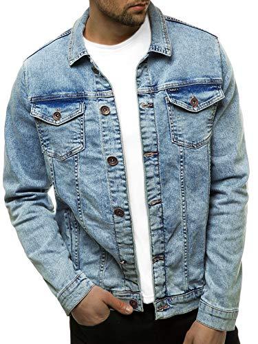 OZONEE Herren Jeansjacke Jacke Jeans Übergangsjacke Herbstjacke Vintage Herrenjacke Herbst Übergangs Denim Bikerjacke Jacket Denim Winter Knopfverschluss 777/9203K HELLBLAU S