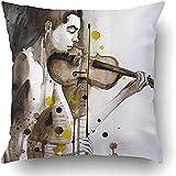 Suo Long Kissenbezüge Modern Illustrated Portrait Young Man Violine Selbstgemachte Musik Paint...